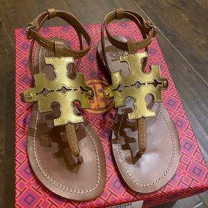 NIB Tory Burch Chandler Sandal Gold/Tan size 8.5